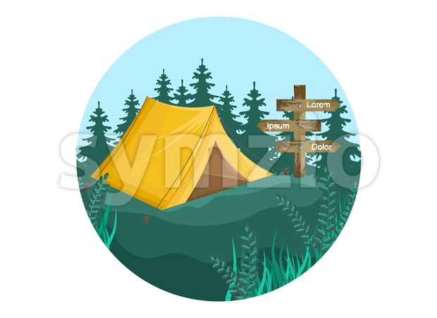 Camping icon Vector flat style. Park nature outdoors background Stock Vector