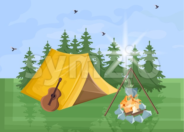 Camping Vector flat style. Park nature outdoors background Stock Vector