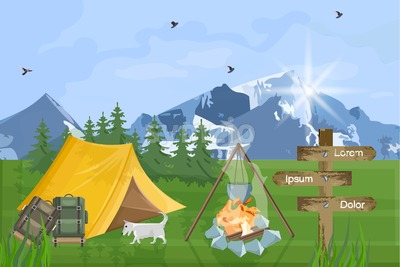 Camping in the mountains Vector flat style. Park nature outdoors background Stock Vector