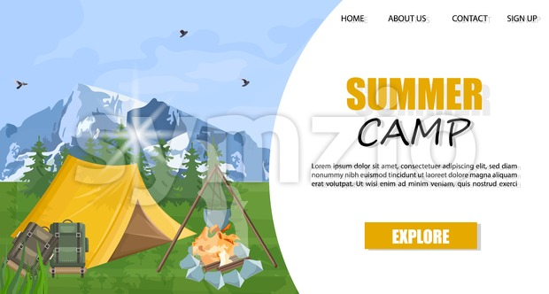 Camping in the mountains Vector template. Layout brochure concept. Park nature outdoors background
