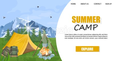 Camping in the mountains Vector template. Layout brochure concept. Park nature outdoors background Stock Vector