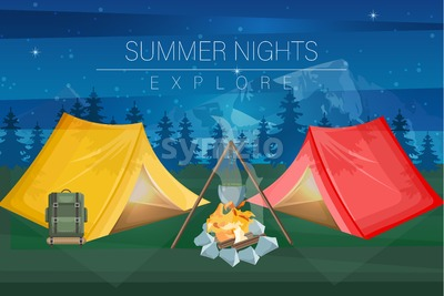 Night camping Vector flat style. Park nature outdoors background Stock Vector