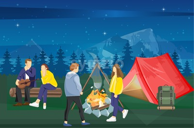 People at a picnic Vector flat style. Night camping park nature background Stock Vector