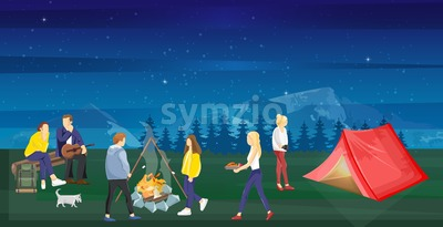 People at a picnic Vector flat style. Night camping park nature outdoors background Stock Vector
