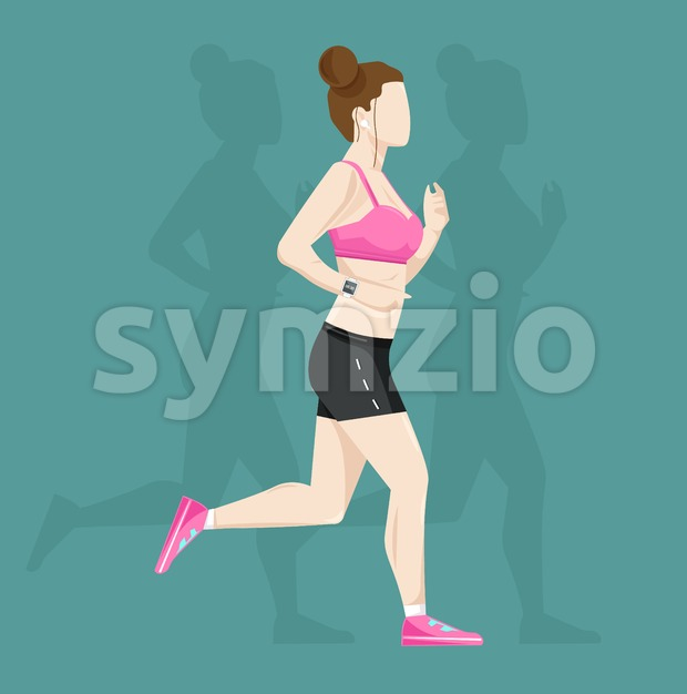 Woman running Vector flat style. Cardio healthy lifestyle template Stock Vector
