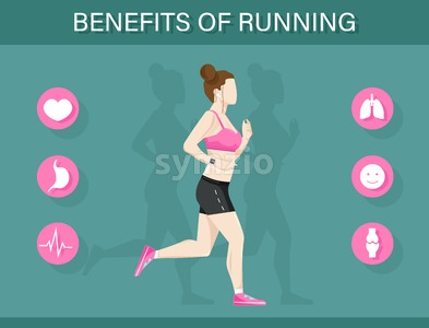 Running benefits template infographic with a woman and icons layout Vector flat style Stock Vector