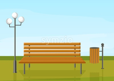 Bench in the park Vector flat style. wooden chair green grass and a lamp outdoors illustration Stock Vector