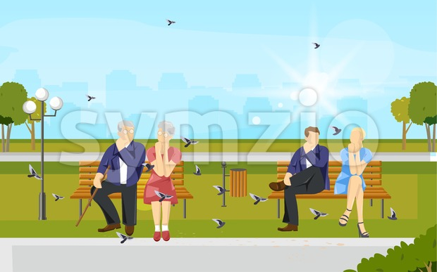 Couples sitting in the park Vector flat style. Old and young couple enjoying summer Stock Vector