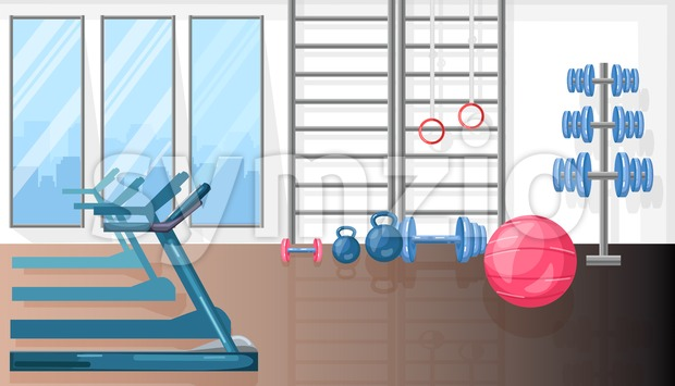 Fitness room with treadmill and sport equipment Vector flat style Stock Vector