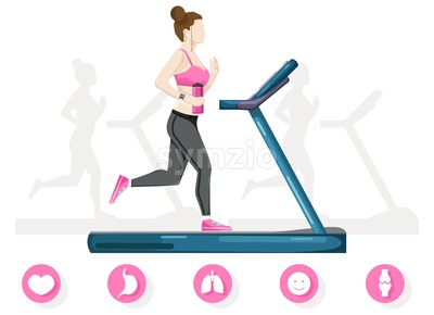 Woman running on a treadmill Vector flat style. Cardio healthy lifestyle template Stock Vector