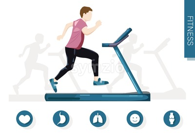 Man running on a treadmill Vector flat style. Cardio healthy lifestyle template Stock Vector