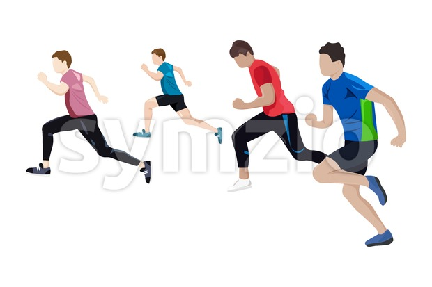 Team running Vector flat style. Athlets competition Game start brochure template Stock Vector