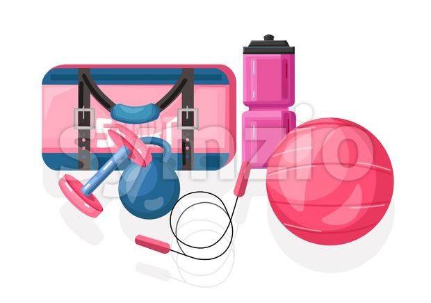 Sport equipment Vector flat style. Pink ball and bag with drinking water can and weights set illustration Stock Vector