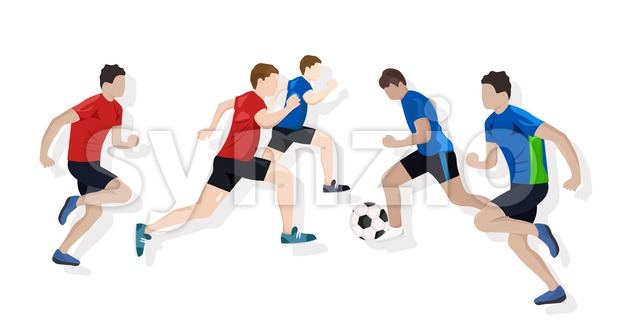 Team playing soccer Vector flat style. Game start. Soccer brochure template Stock Vector
