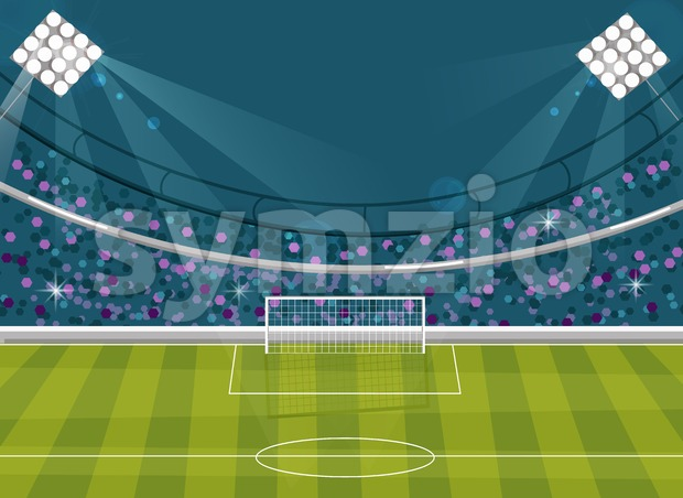 Football field Vector flat style. Soccer template brochure avatar. Supporters on background Stock Vector