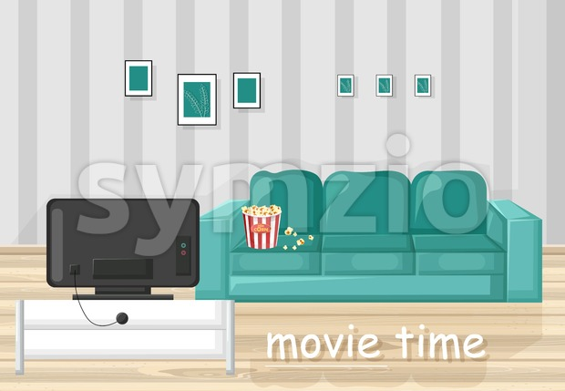 Couch and TV Vector flat style. Movie time in the livingroom