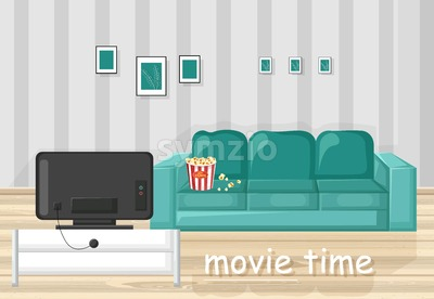 Couch and TV Vector flat style. Movie time in the livingroom Stock Vector