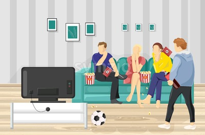 People watching football on TV Vector flat style. Teenage supporters fans at home Stock Vector