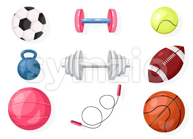Football, rugby, basket ball Vector set collection isolated on white Stock Vector