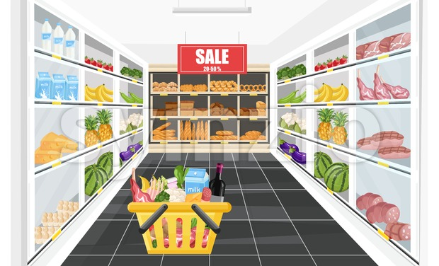 Supermarket shopping sale banner Vector. Food products and drinks illustration