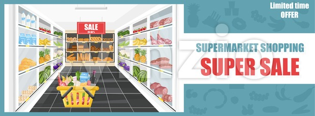 Supermarket shopping sale banner Vector. Food products and drinks illustration Stock Vector