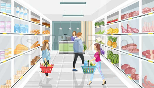 People in the supermarket shop Vector flat style. Shopping food products. Sales template Stock Vector