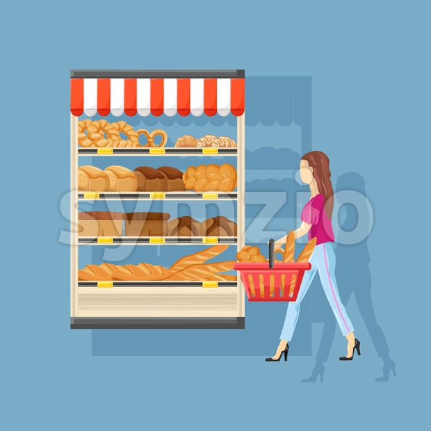 Woman shopping bakery Vector flat style. Fresh products illustration Stock Vector