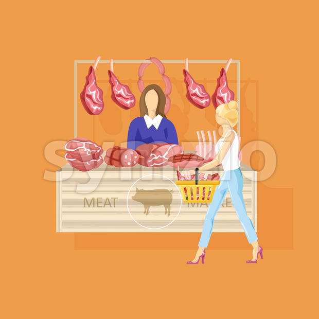 Woman shopping meat Vector flat style. Fresh farm product