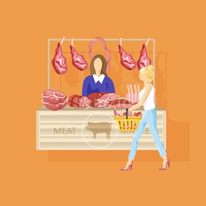 Woman shopping meat Vector flat style. Fresh farm product Stock Vector