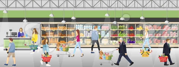 People in the supermarket shop Vector flat style. Shopping food products. Sales template banner