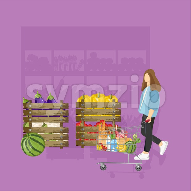 Woman shopping grocery Vector flat style. Purple color background Stock Vector