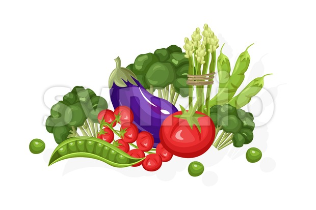 Eggplant, tomatoes, greens set. Store shop label isolated poster advertise Stock Vector