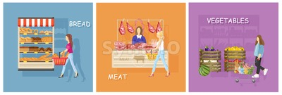 Bread, meat and vegetables stands shopping Vector flat style Stock Vector