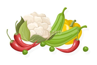 Cauliflower, chilli, pepper set. Store shop label isolated poster advertise Stock Vector