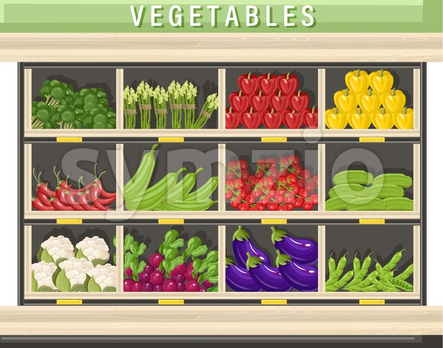 Farm fresh vegetables Vector shopping stands. Store shop stands grocery detailed illustration Stock Vector