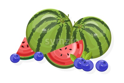 Fresh fruits Vector banner. Watermelon and berry isolated Stock Vector