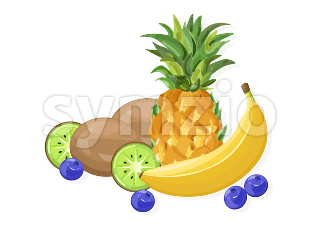 Fresh banana and pineapple fruits Vector banner isolated on whites Stock Vector