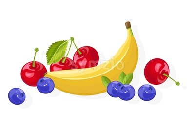 Fresh banana and cherry fruits Vector banner isolated on white Stock Vector