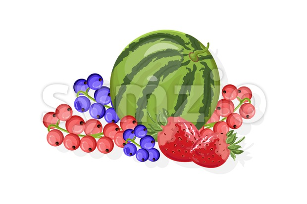 Fresh fruits Vector banner. Watermelon, banana, pineapple and berry Stock Vector