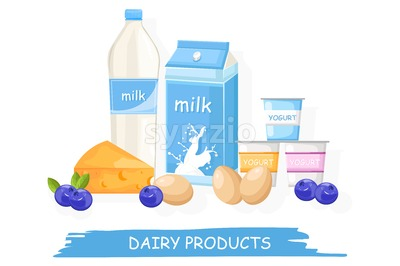 Farm fresh dairy Vector shopping stands. Milk, yogurt, cheese and eggs illustration Stock Vector