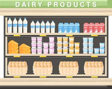 Farm fresh dairy Vector shopping stands. Milk, yogurt, cheese and eggs Stock Vector