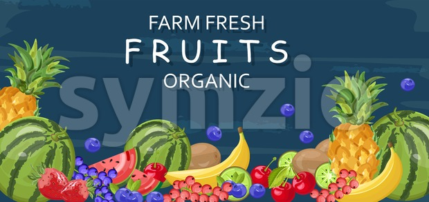 Farm fresh fruits Vector banner. Watermelon, banana, pineapple and berry Stock Vector