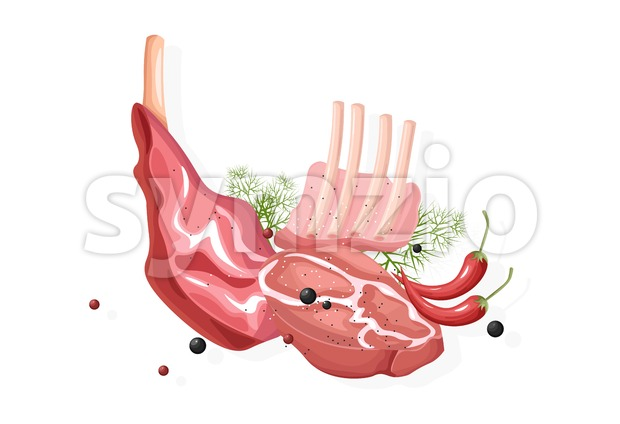 Meat fillet Vector flat style isolated on white background illustration Stock Vector