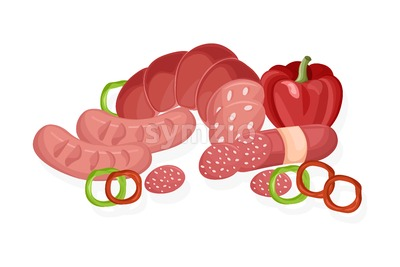 Meat set Vector. Pastrami, salami and saussage flat style Stock Vector
