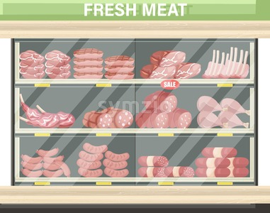 Meat set stands shopping Vector. Pastrami, salami and saussage flat style Stock Vector
