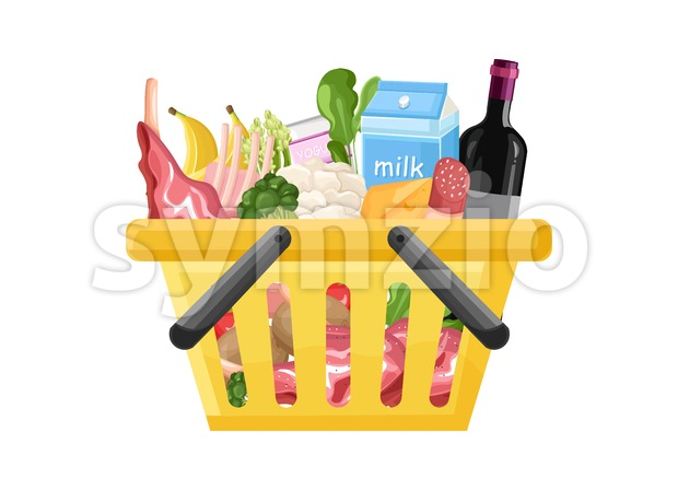 Shopping cart template Vector flat style. Product icon sale concept