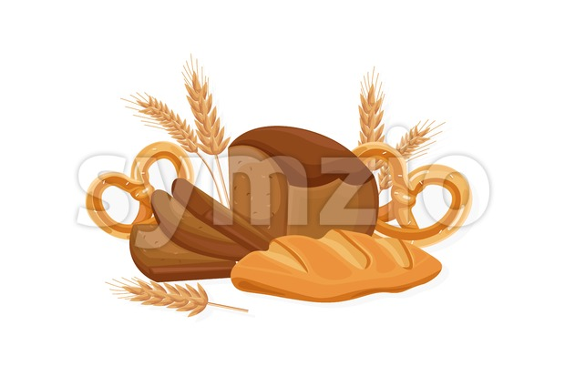 Bakery Vector. Black bread, bread roll, croissant. Front view detailed illustration Stock Vector
