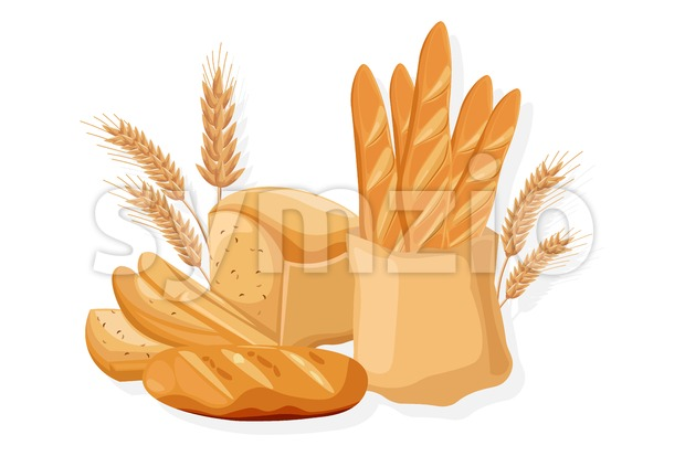 Bakery set Vector. Bread, baghet, rye Front view detailed illustration