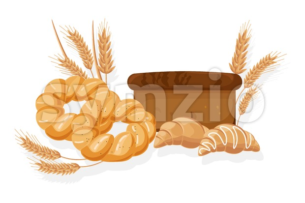 Bakery Vector. Bread, bread roll, croissant Front view detailed illustration Stock Vector