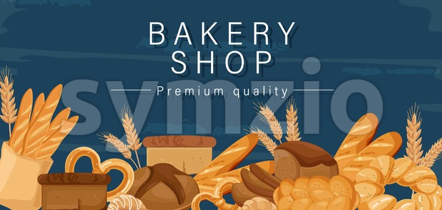 Bakery shop Vector. Bread, pretzel, croissant Front view detailed illustration Stock Vector